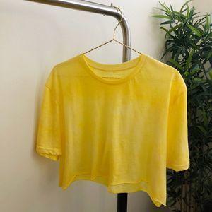 Custom tie dye oversized crop top Yellow OS
